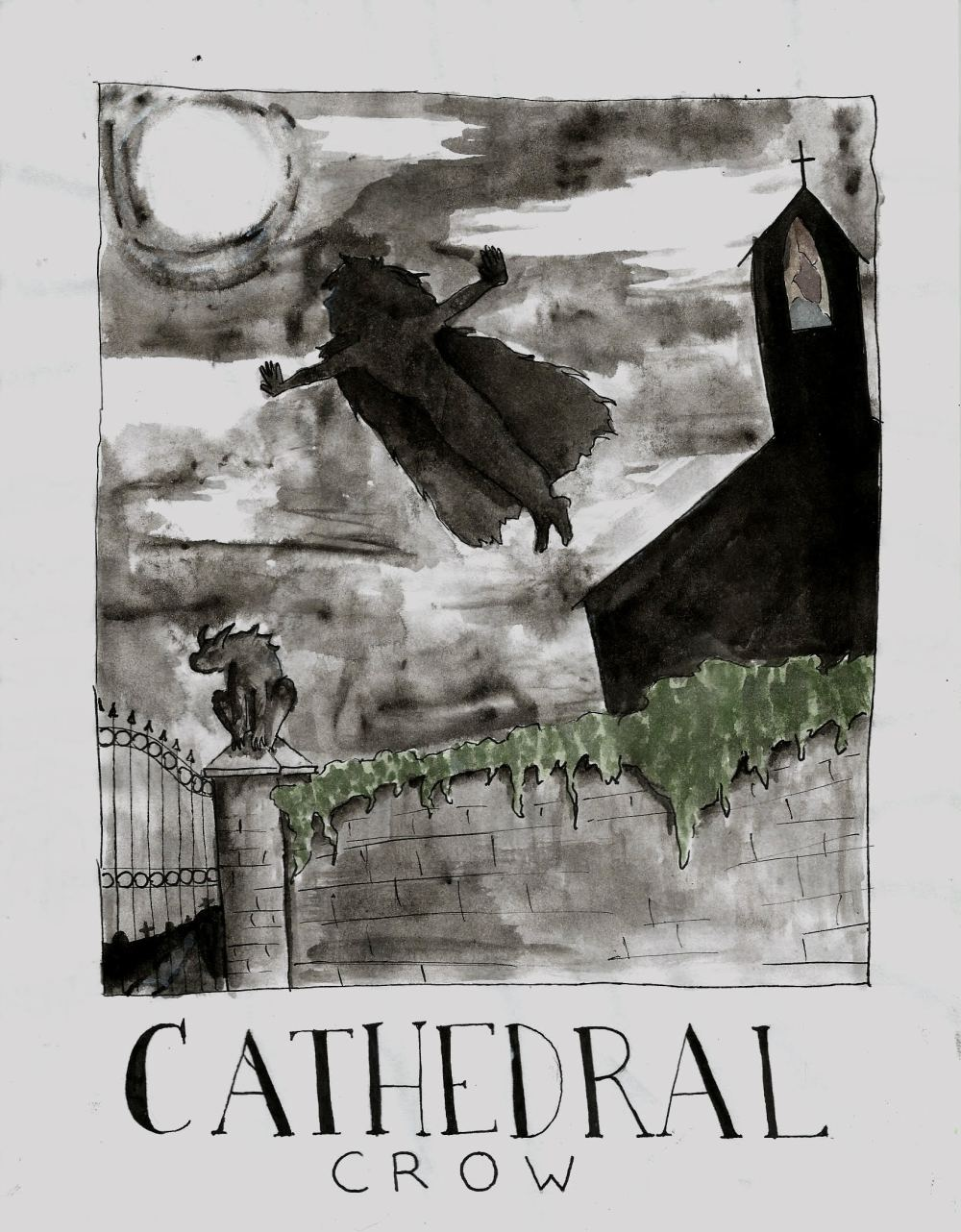 'Cathedral Crow' - Illustration by Sophia Johnson, based on an original story by Alyson Faye